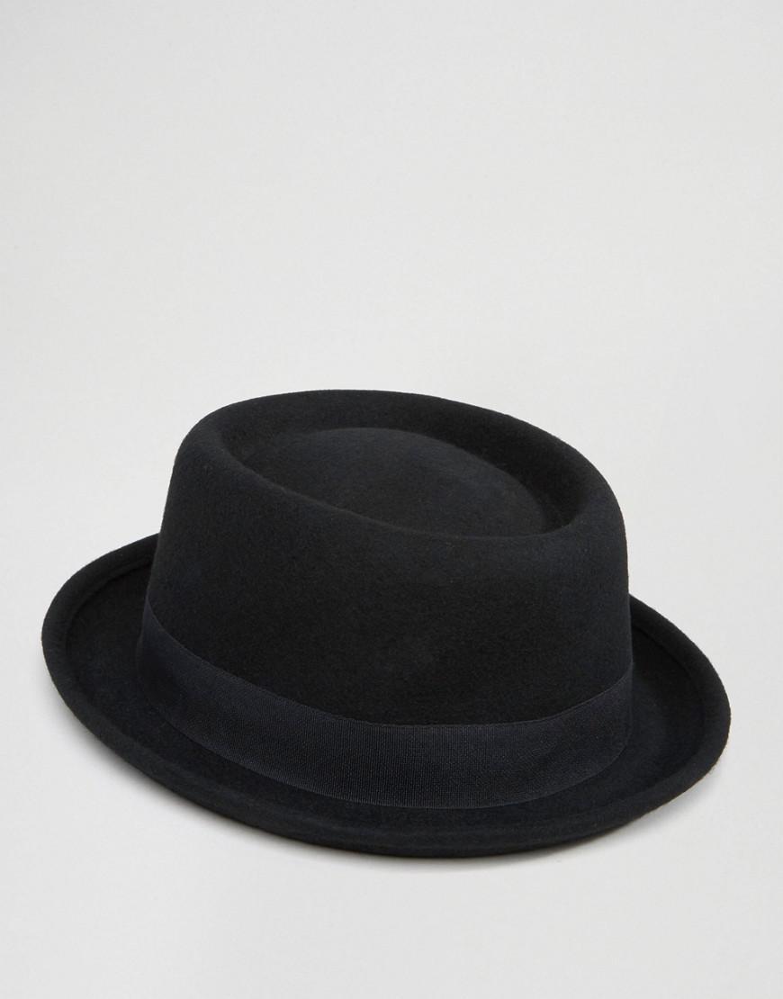 ea33e69e601 ASOS Pork Pie Hat In Black Felt in Black for Men - Lyst