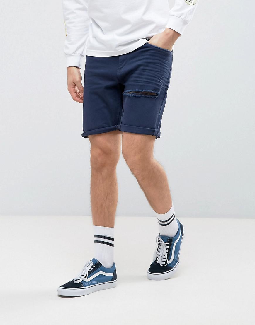 ASOS. Men's Denim Shorts In Stretch Slim Dark Blue ...