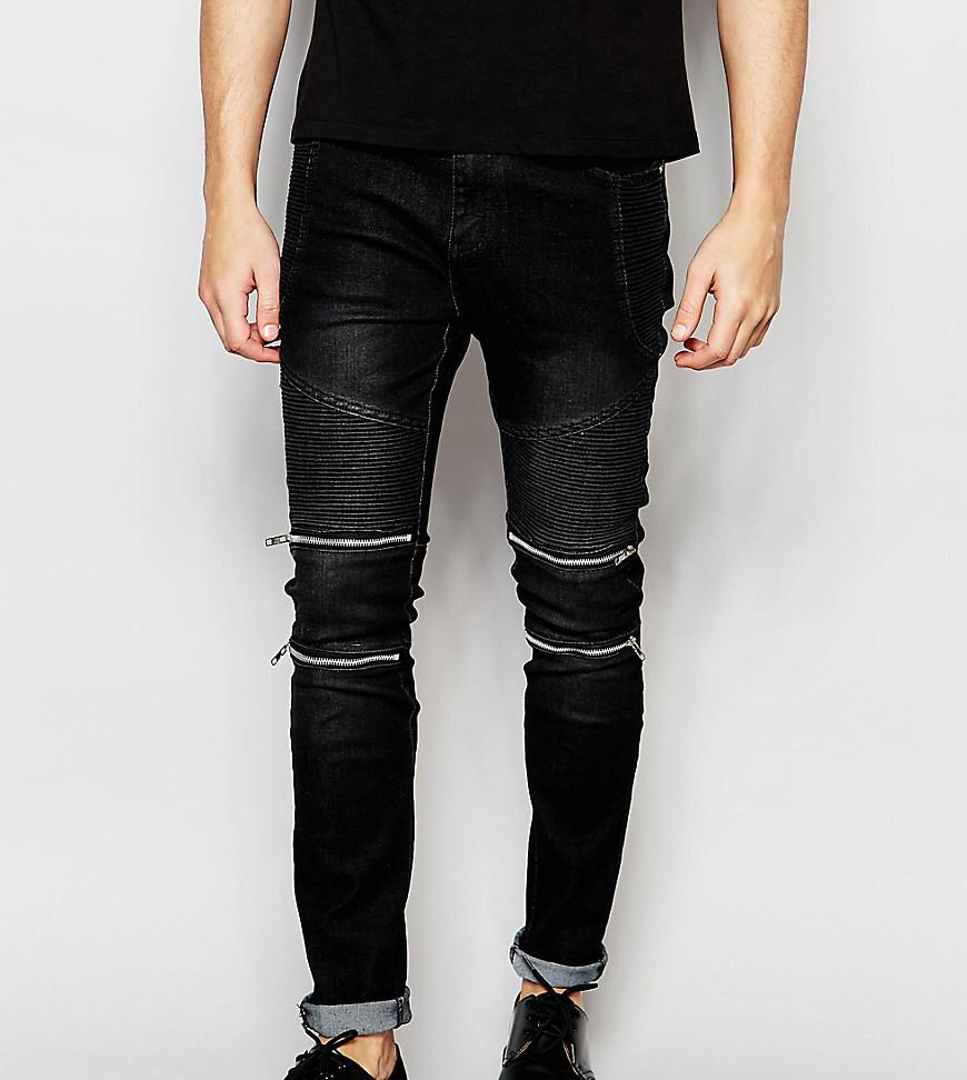 Cheap Sale New Black Skinny Jeans With Double Zips - Black Liquor & Poker Cheap Prices 100% Original 7Z9xda99