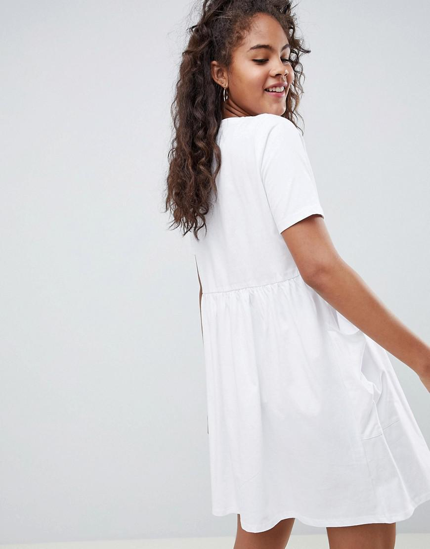 ede87f7fccb Lyst - ASOS Asos Design Tall Mini Smock Dress With Pockets And Button Front  in White