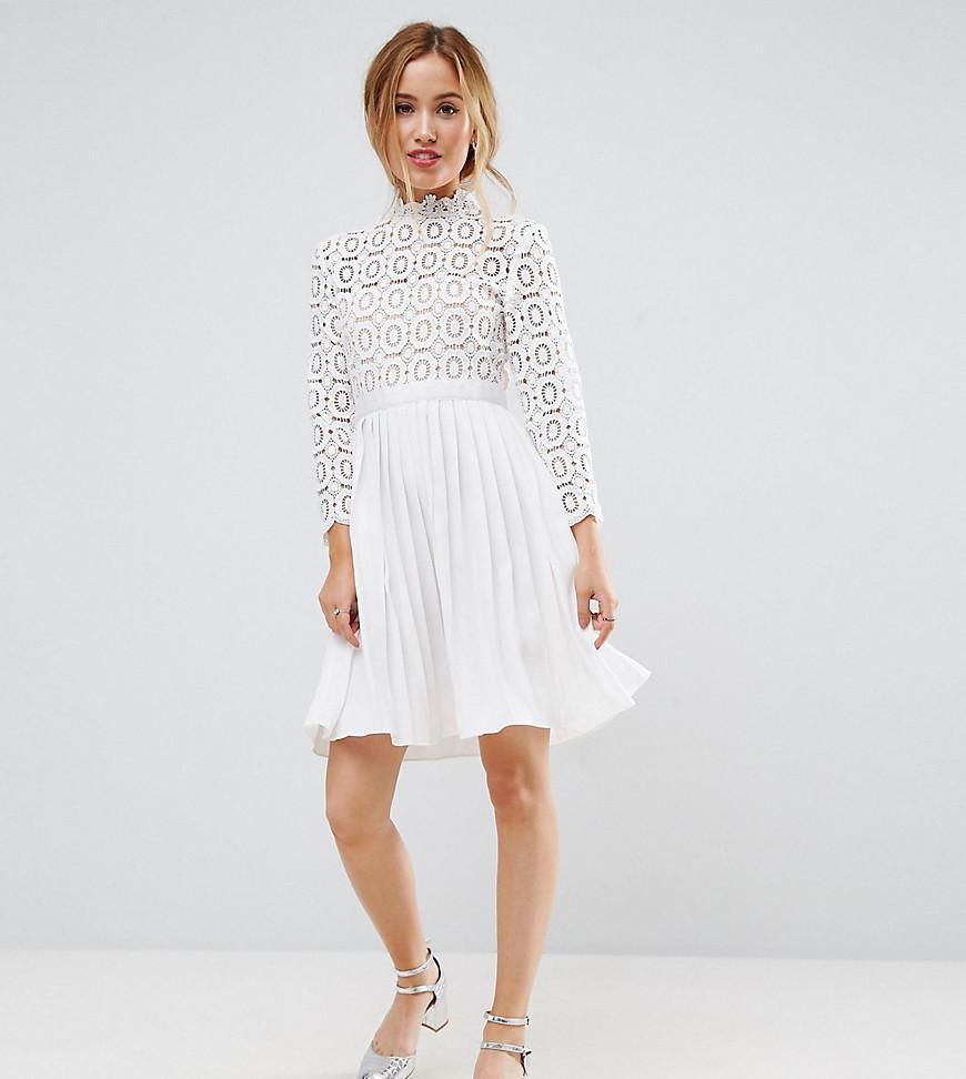 822e81d88e1 Little Mistress 3 4 Sleeve Lace Top Pleated Mini Dress in White - Lyst