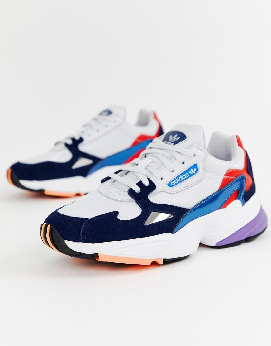 watch great prices nice cheap White And Navy Falcon Trainers