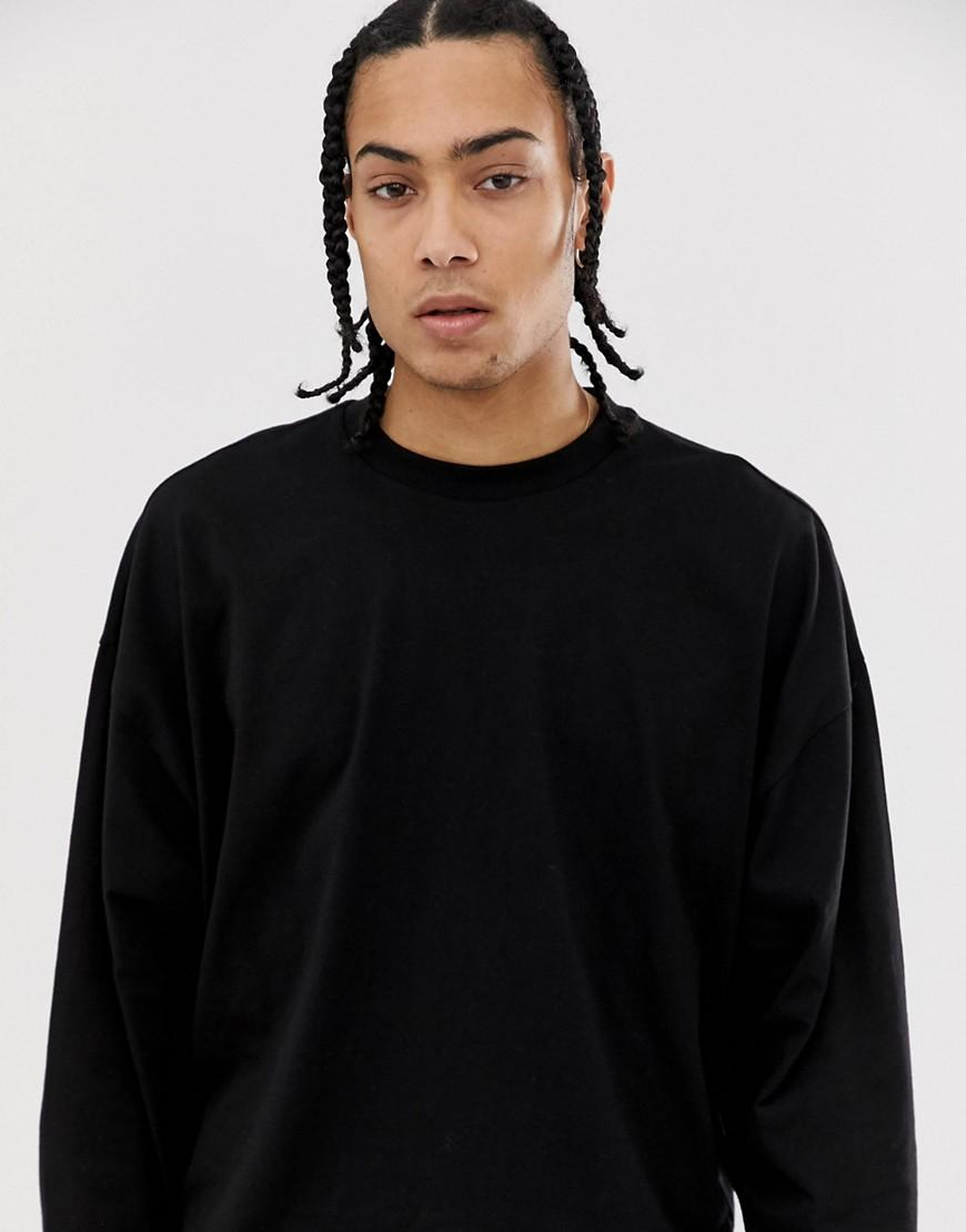 0b1e6c7d00806 Lyst - ASOS Oversized Boxy Long Sleeve T-shirt In Black in Black for Men