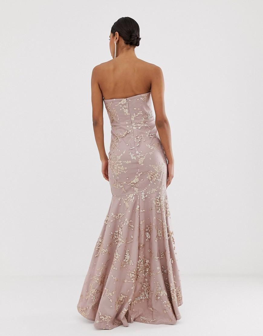 Bariano Lace Cowl Neck Bandeau Embellished Sequin Gown In Pink Lyst