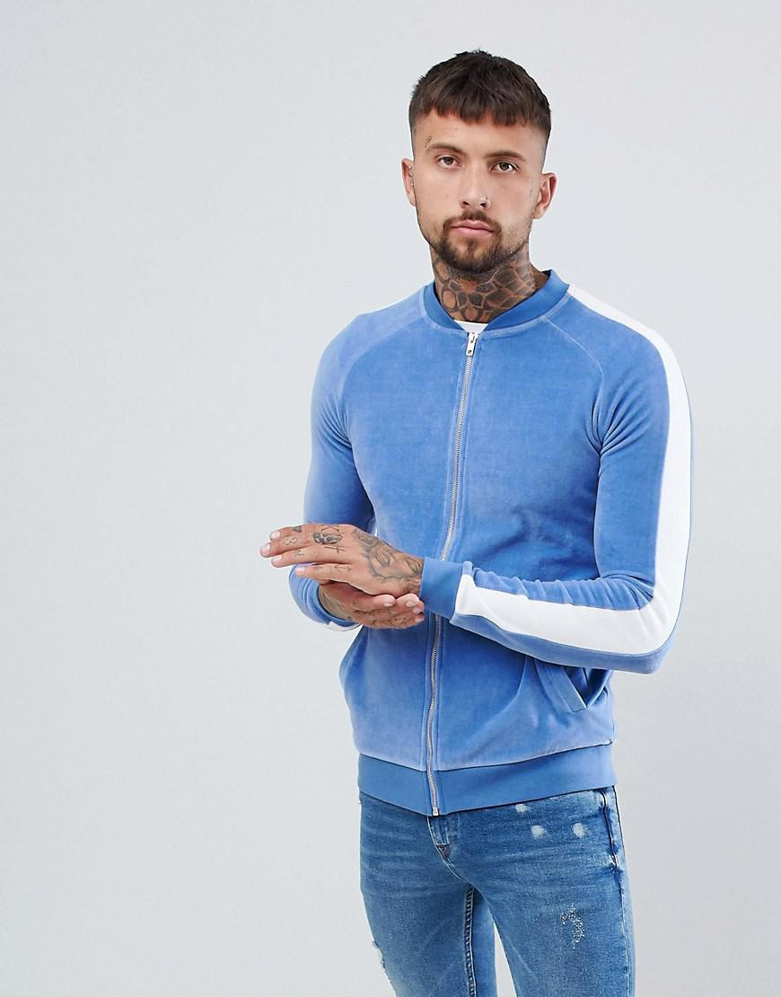 33fea57b444 Lyst - ASOS Muscle Bomber Jacket In Velour With Side Stripes in Blue ...