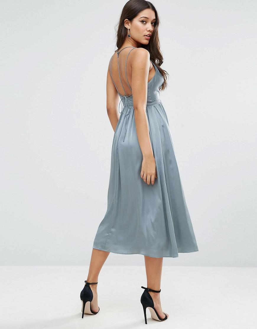 Lyst - Asos Midi Dress With Delicate Strap Back in Blue