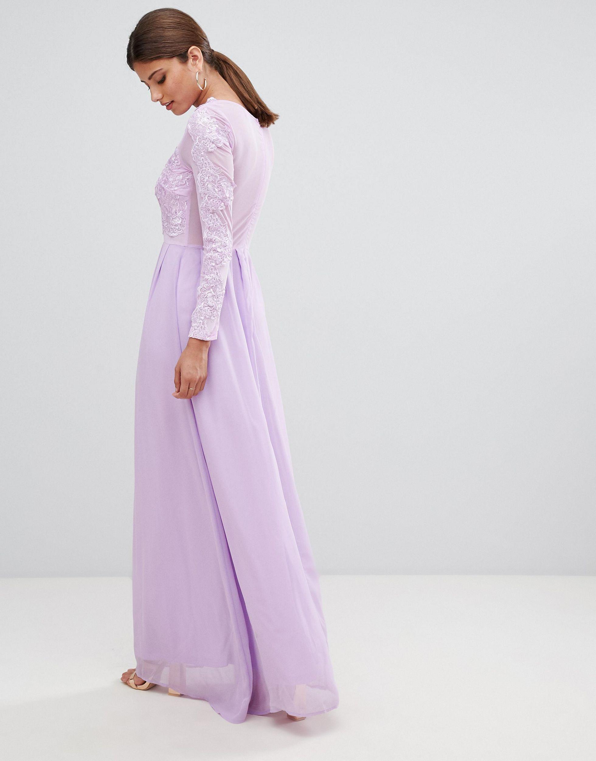 Vestido largo AX Paris de Encaje de color Morado