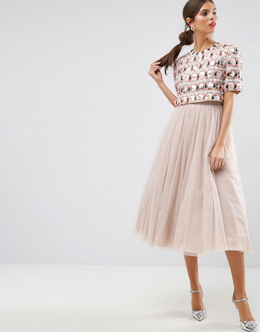 d50b332a03e ASOS Salon 3d Cluster Crop Top Tulle Midi Dress in Pink - Lyst