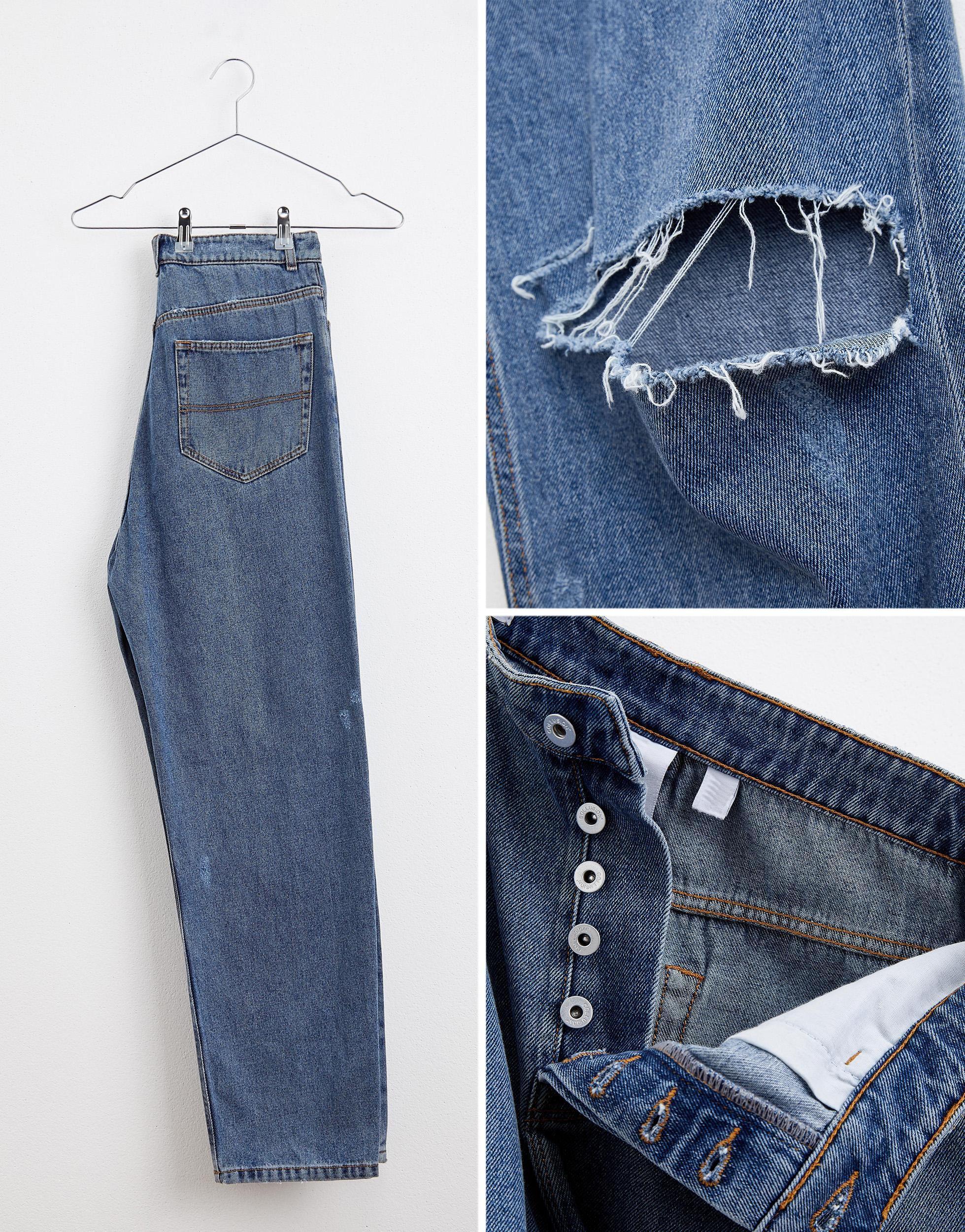 Collusion Denim X005 - Jeans Met Rechte Pijpen En Scheuren in het Blauw voor heren