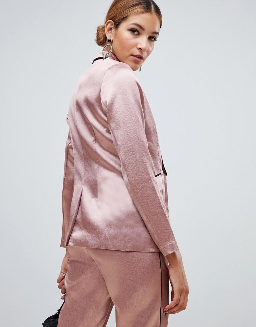 a528016e936c5 Lyst - Little Mistress Satin Blazer With Contrast Piping In Copper in Pink
