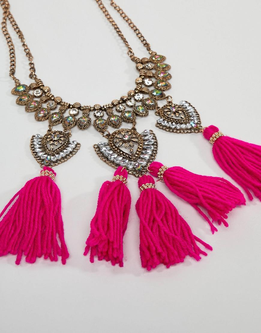 ASOS Denim Statement Engraved Iridescent Jewel And Tassel Bib Necklace in Gold (Metallic)