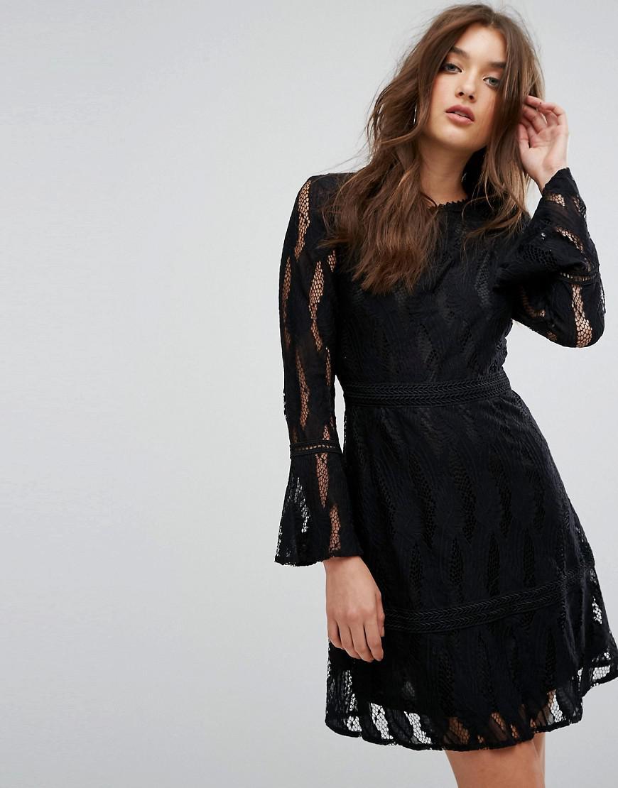 89deae6478c2d Boohoo Flare Sleeve Lace Insert Dress in Black - Lyst