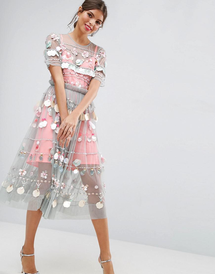 654eeb839a Asos Salon 3d Floral Embellished Cape Mini Skater Dress - Data ...