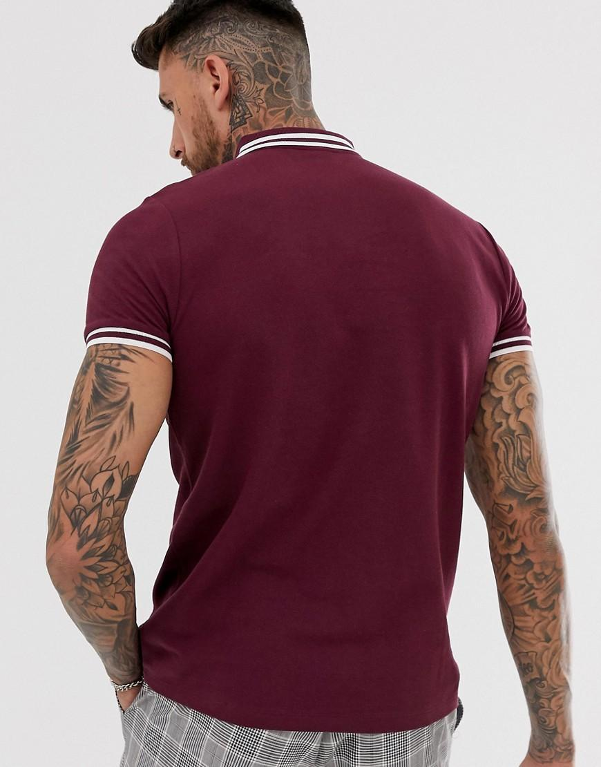 62d047c39c74b5 ASOS Tipped Pique Polo Shirt In Burgundy in Red for Men - Lyst