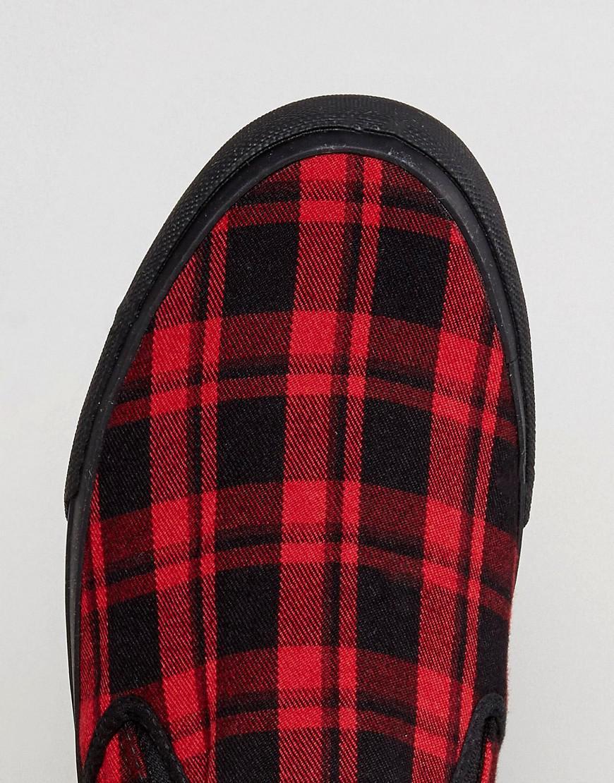 ASOS Denim Slip On Plimsolls In Tartan Check in Red for Men