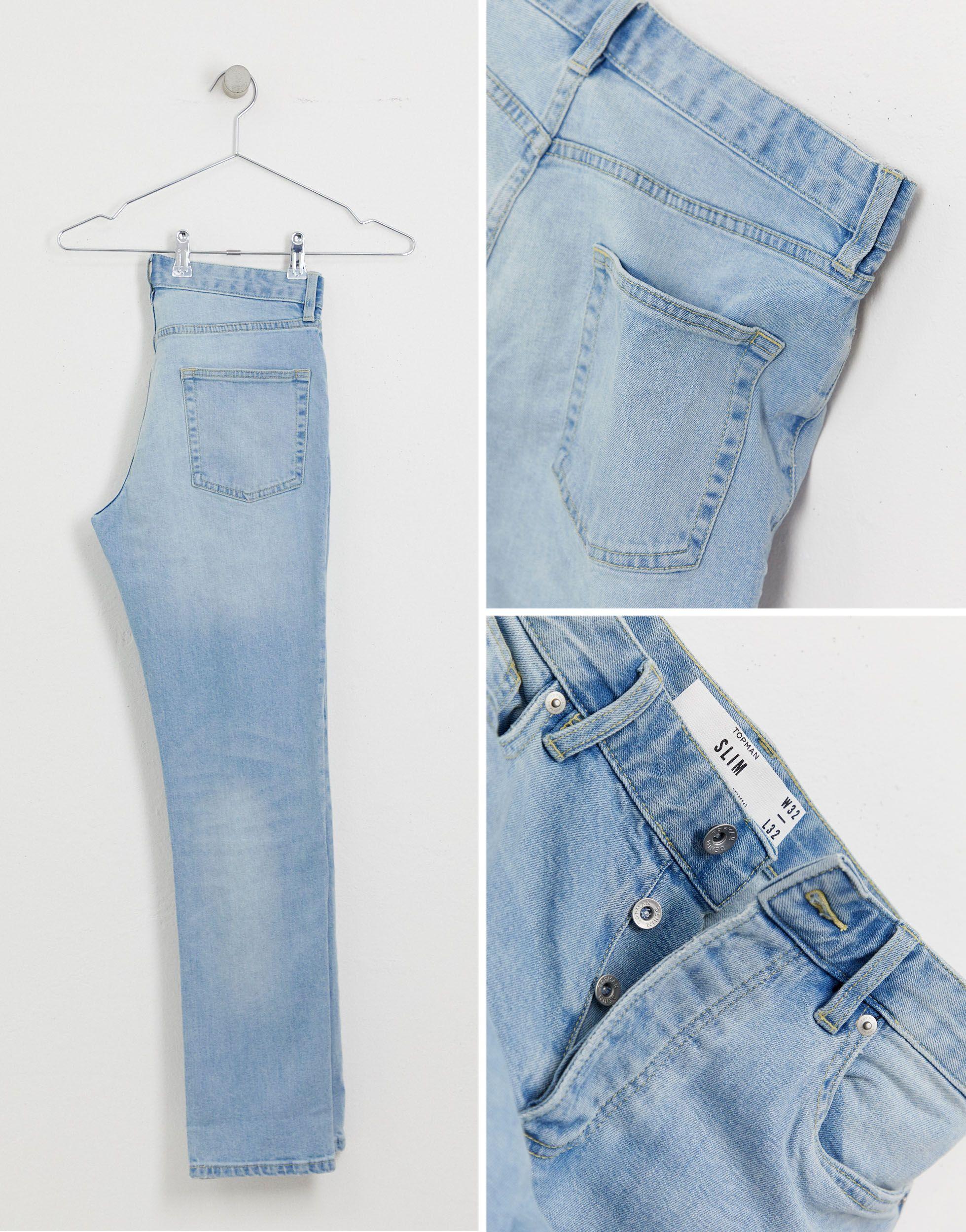 TOPMAN Denim Smalle Jeans in het Blauw voor heren