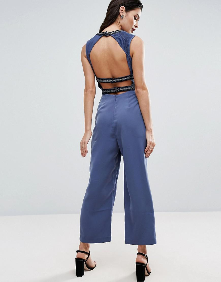 Asos Red Carpet Jumpsuit With Embellished Panel Details In Blue Lyst