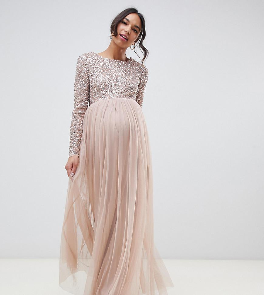 3fbd15e3b47 Maya Maternity. Women s Brown Bridesmaid Long Sleeved Maxi Dress With Delicate  Sequin And Tulle Skirt