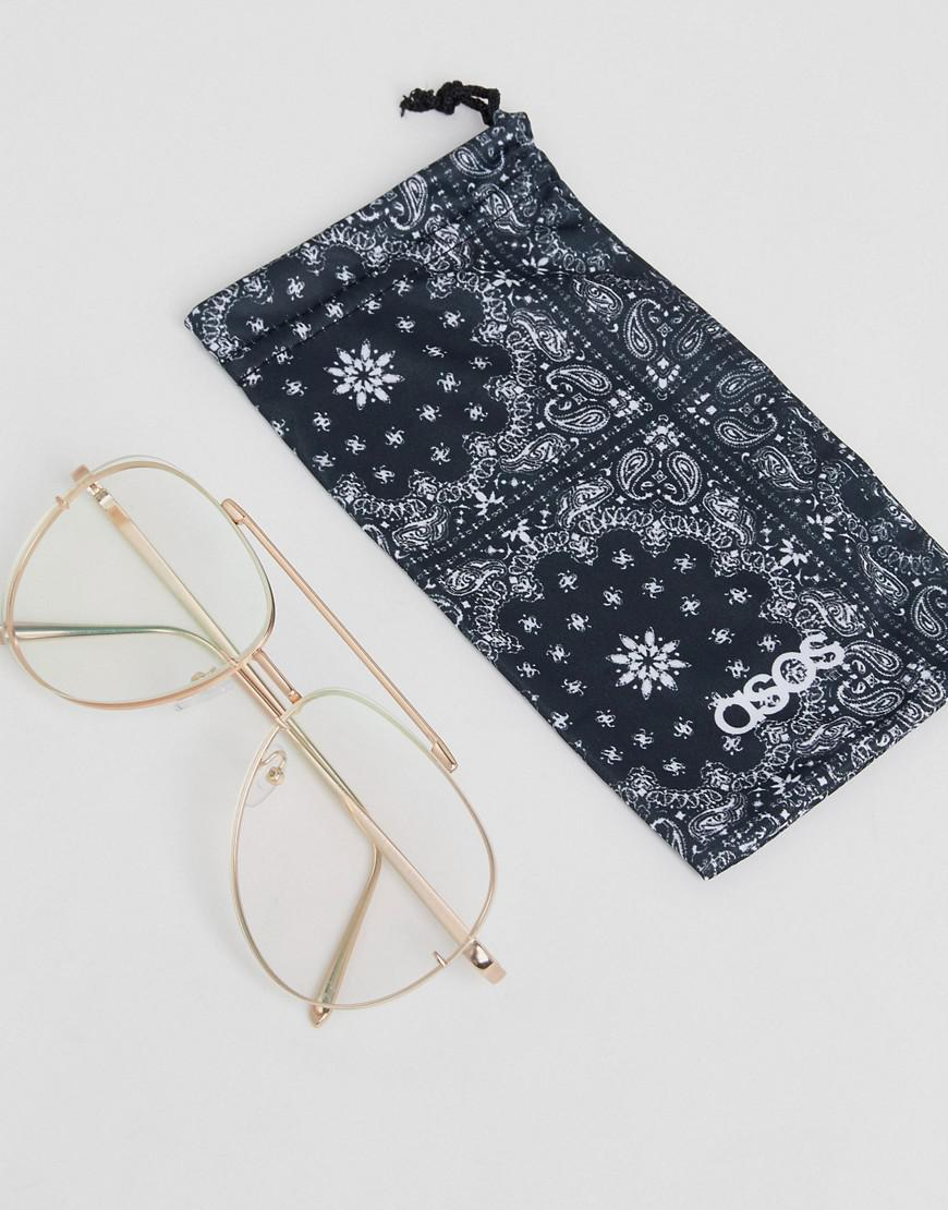 138841f99d Lyst - ASOS Aviator Glasses In Brushed Gold With Clear Laid On Lens ...