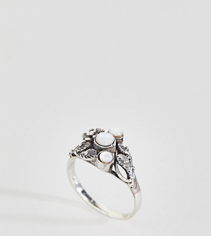 Kingsley Ryan Sterling Silver Leaf Detail Moonstone Ring - Silver TiHEjNo