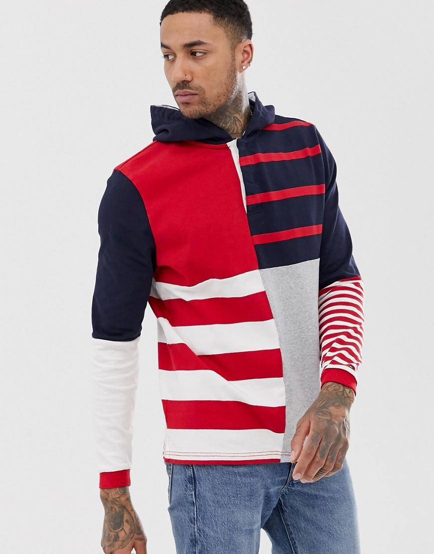 c393d32b Tommy Hilfiger Relaxed Stripe Hooded Rugby Shirt in Red for Men - Lyst