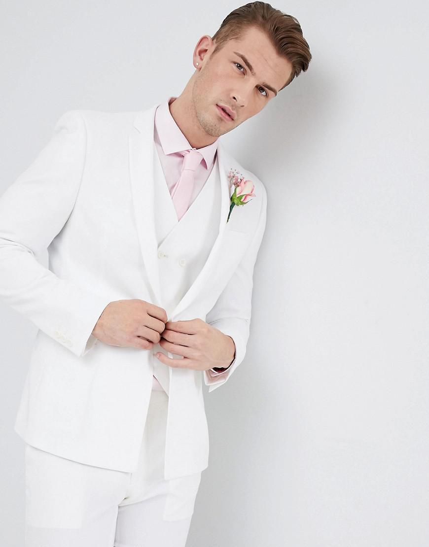 Lyst - Asos Design Wedding Skinny Suit Jacket In Off White Cross ...