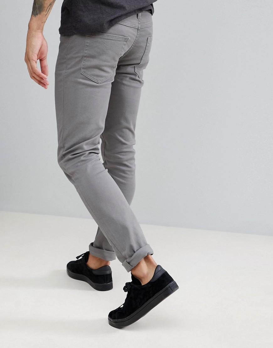 FARAH Mens Drake Super Slim Fit Jeans in MID GREY