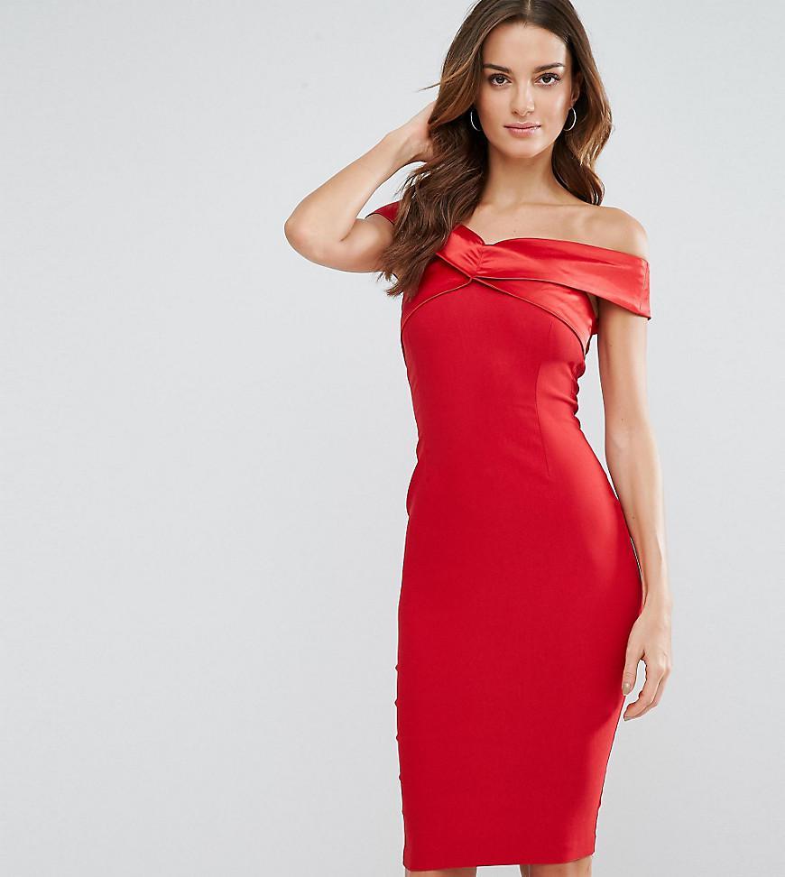 Lyst - Vesper Structured Pencil Dress With Satin Off Shoulder In Red