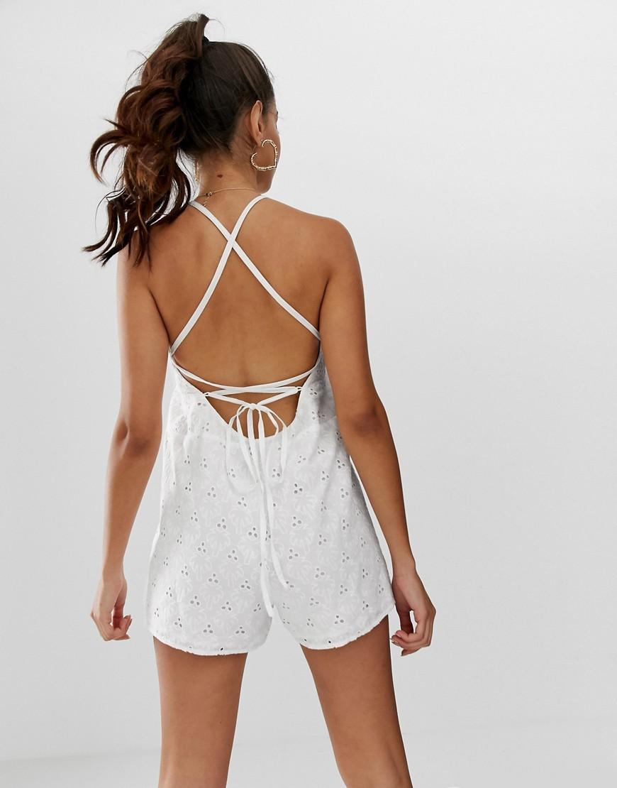 56c318bf07 ASOS Palm Broderie Romper in White - Lyst