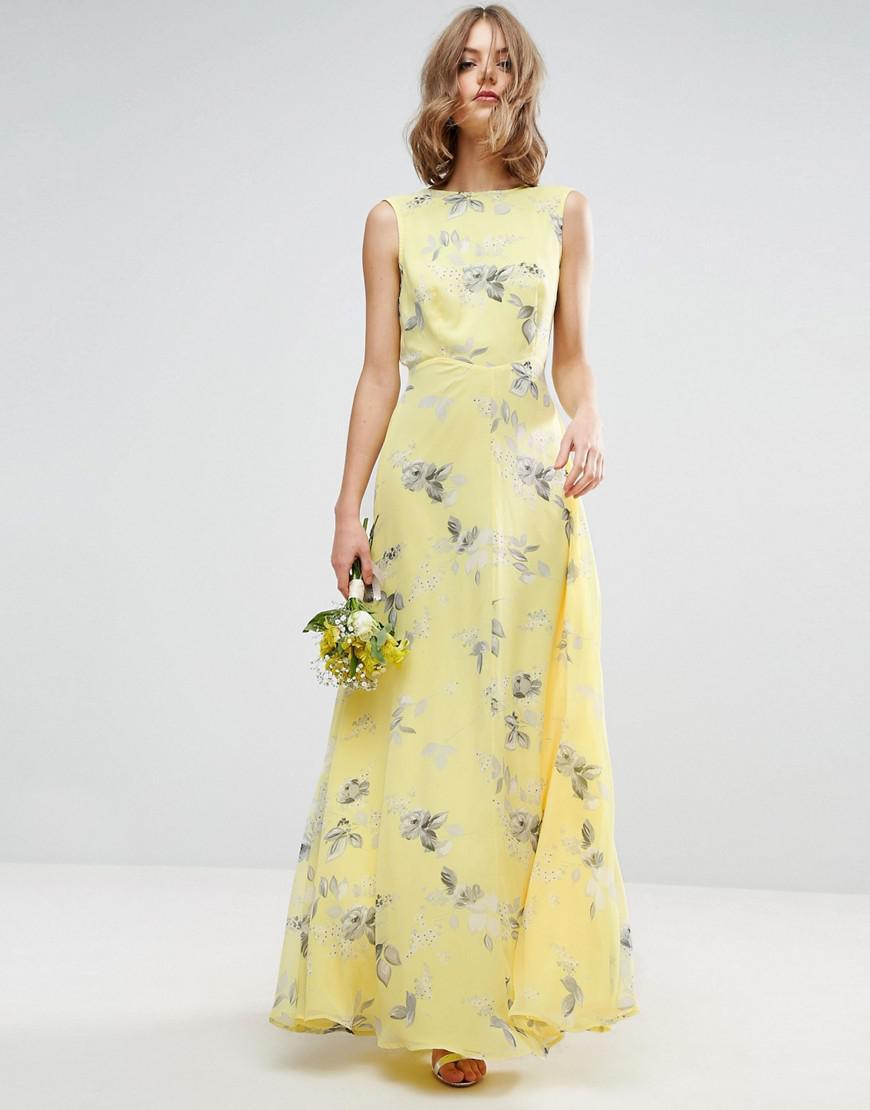 Floral print maxi dress for wedding