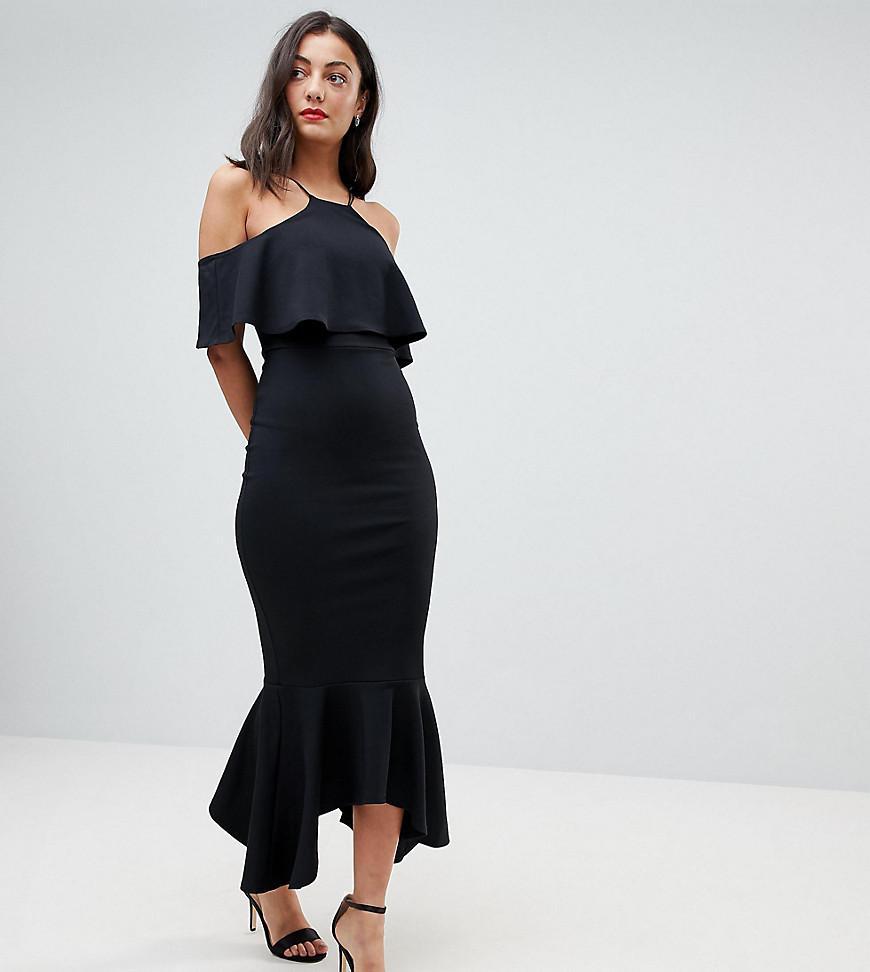 3ba77f2cb4cd8 ASOS Ruffle Cold Shoulder Asymmetric Pephem Midi Dress in Black - Lyst
