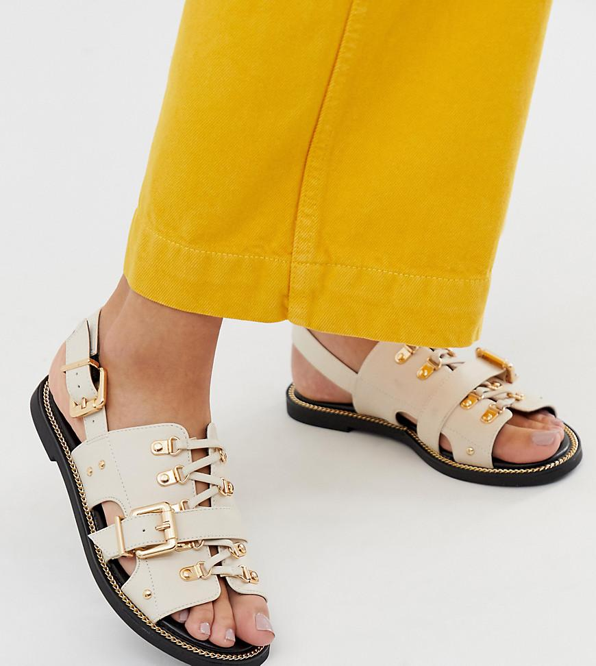 1e73afad063 River Island Flat Sandals With Buckle Detail In Nude in Natural - Lyst