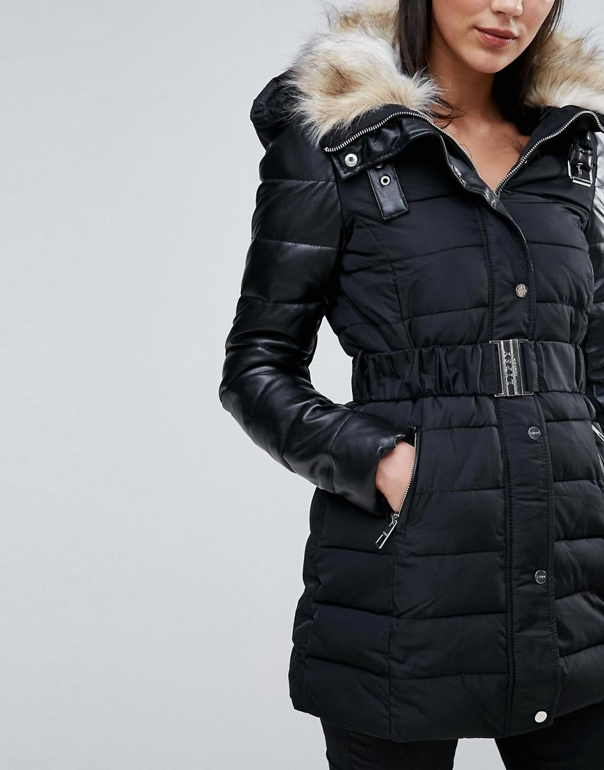 sale usa online excellent quality special section Quilted Belted Parka With Faux Fur Hood