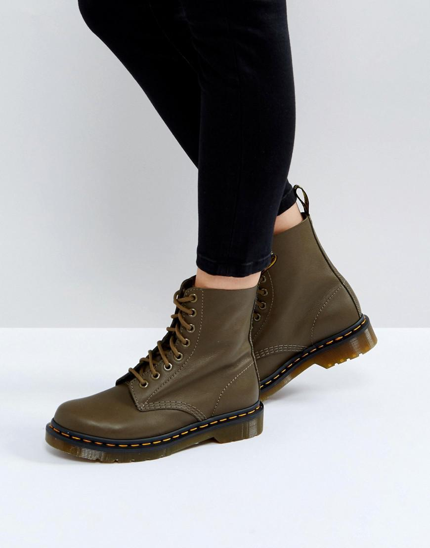 Lyst - Dr. Martens Pascal Khaki 8 Eye Boots in Green 89c71e396b2c