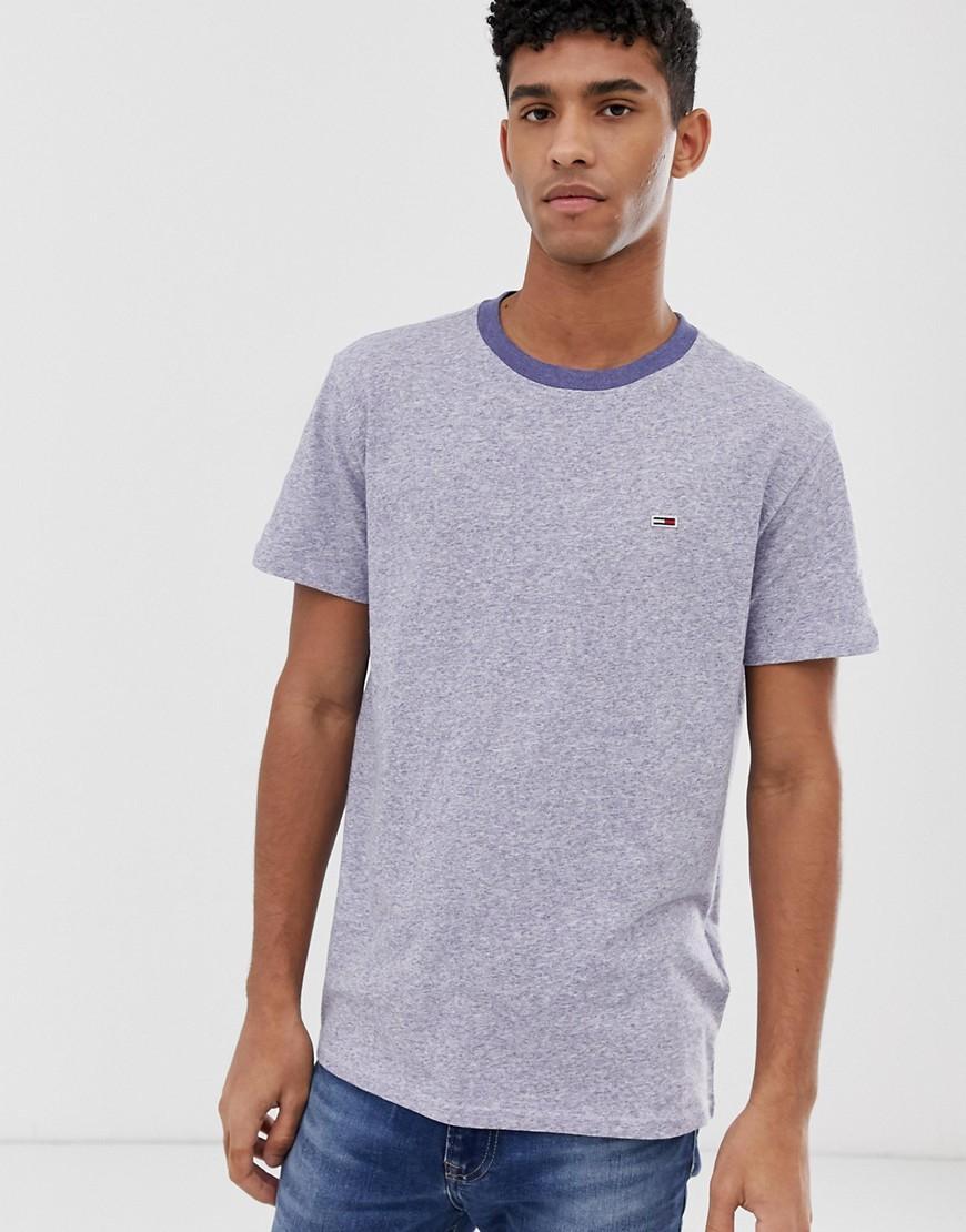 08ec8dcc Tommy Hilfiger Contrast Neck T-shirt With Pique Flag Logo In Blue ...