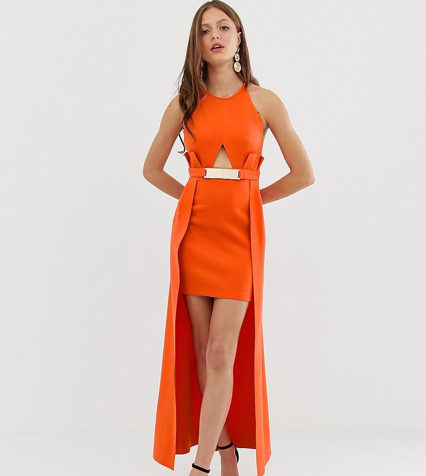 d08d154e5b9 ASOS. Women s Orange Pemium Halter Keyhole Mini Dress With Gold ...
