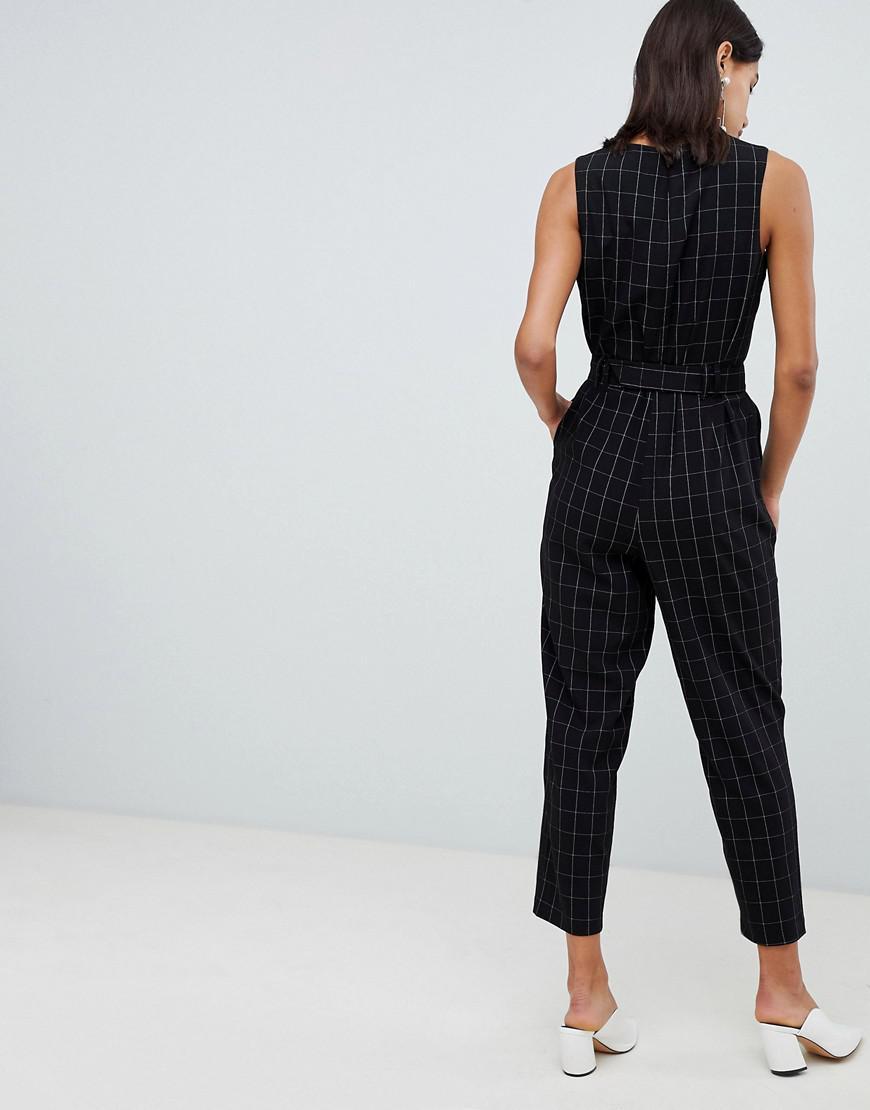 8dd23a03b64 Vero Moda Check Tailored Jumpsuit in Black - Save 50% - Lyst