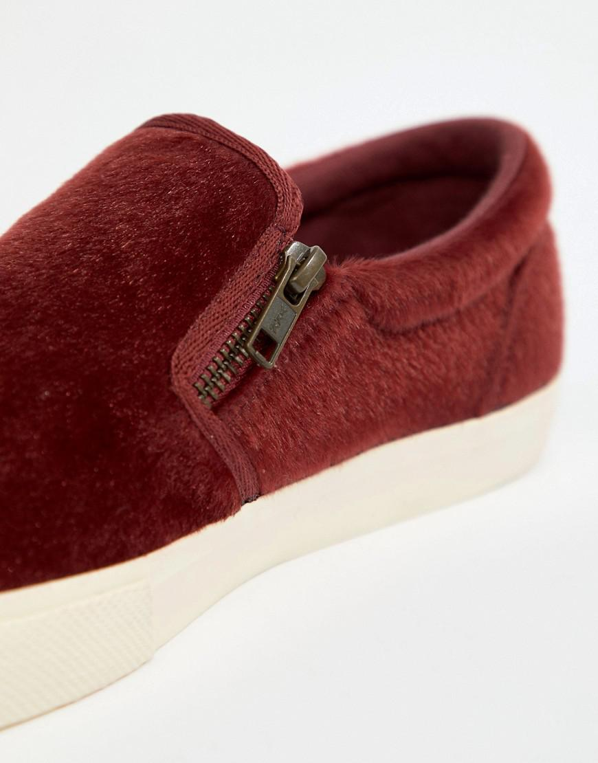 c9e8293ba61 Lyst - ASOS Slip On Plimsolls In Burgundy Faux Pony Hair With Zips in Red  for Men