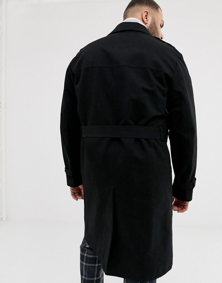 ASOS Synthetisch Plus - Lange Douchebestendige Trenchcoat Met Riem, in het Zwart voor heren