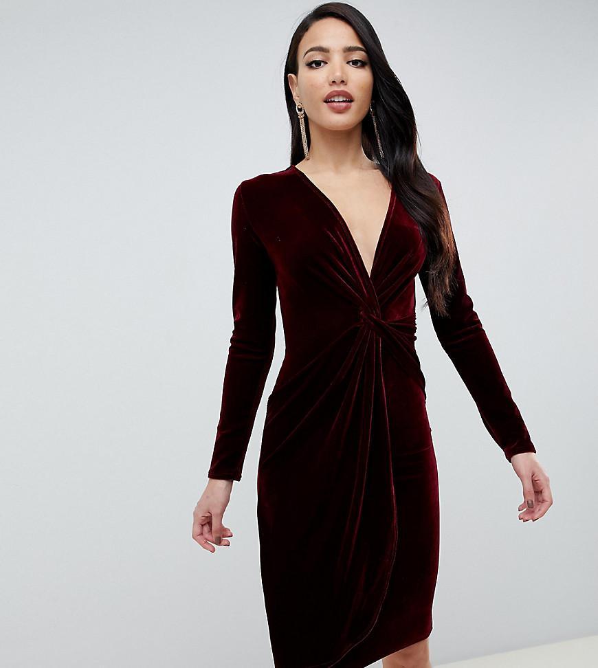 Lyst - TFNC London Velvet Midi Wrap Dress With Twisted Waistband In ... 856c1c116