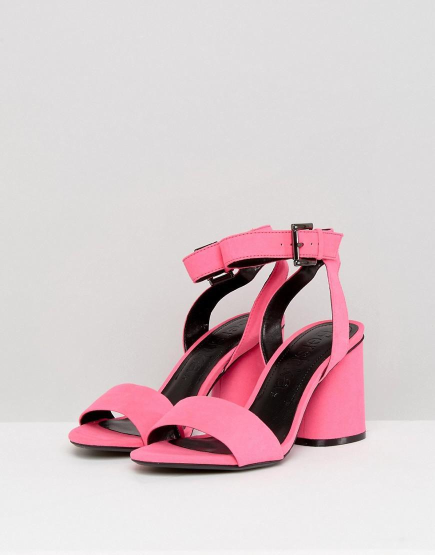 Bershka Denim Block Heel Strappy Sandal In Pink Lyst