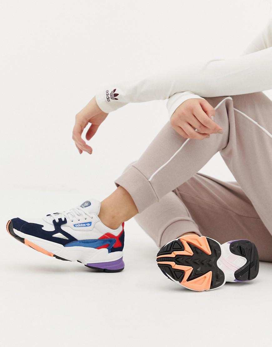 White And Navy Falcon Trainers