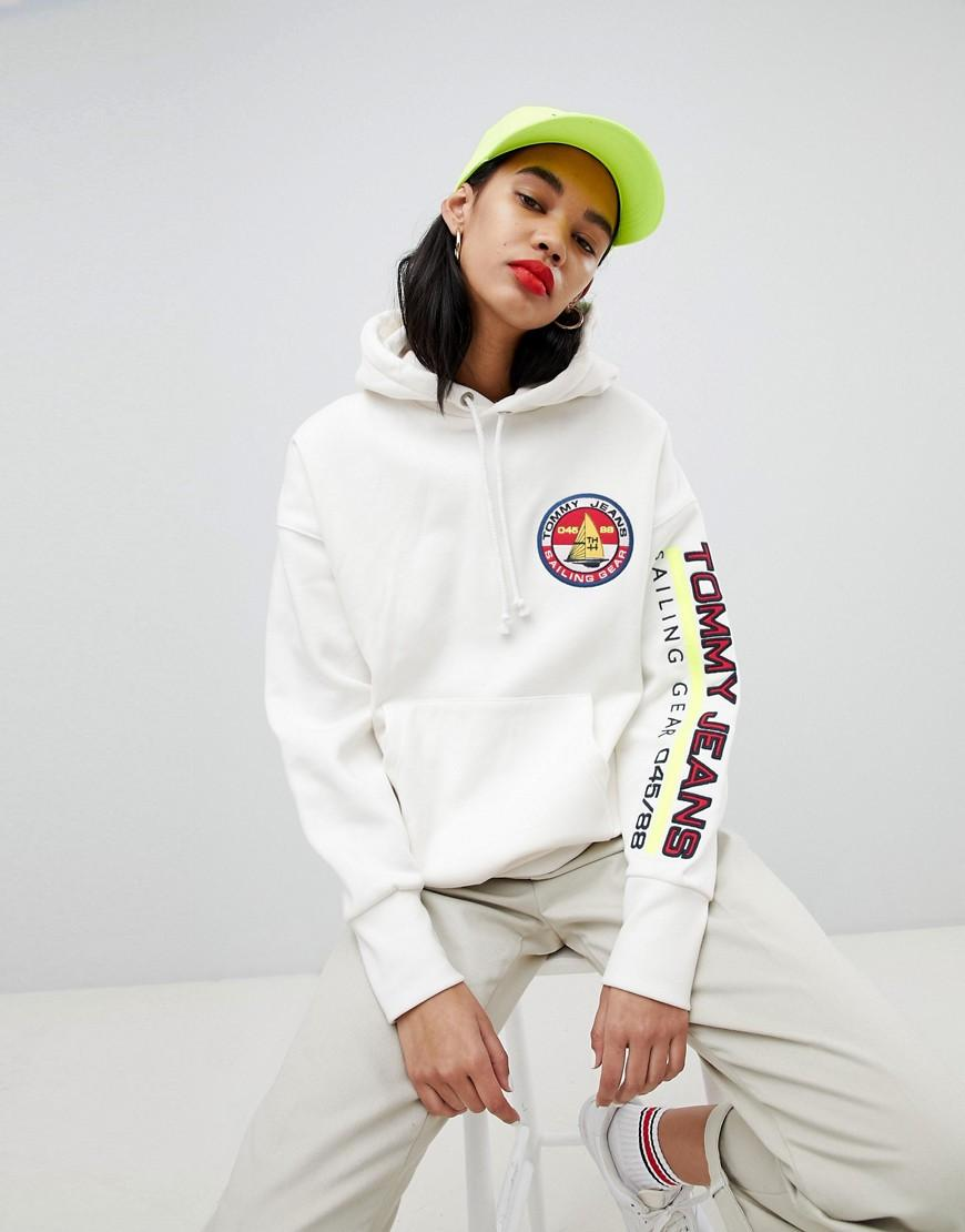 abe516ad715e99 Tommy Hilfiger. Women s White 90s Capsule 5.0 Sailing Hoodie With Sleeve  Logo