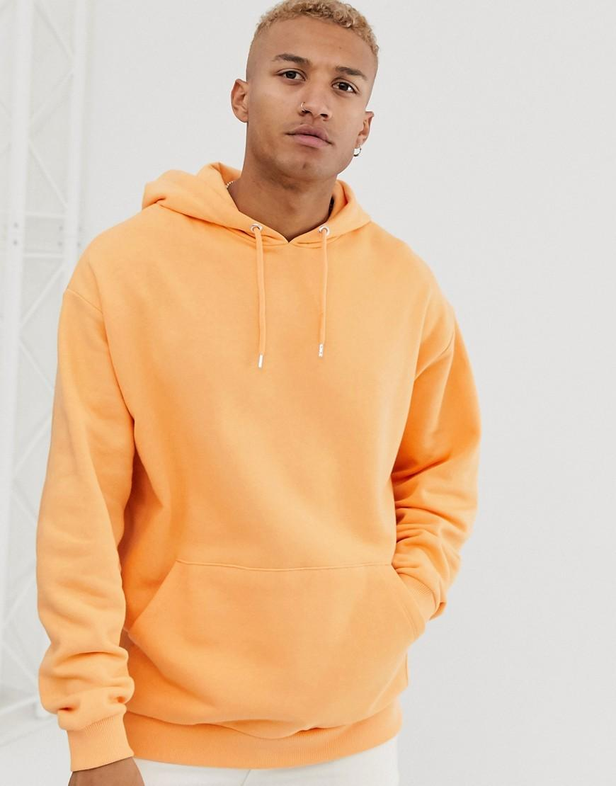 ASOS Oversized Hoodie Met Lange Mouwen In Oranje En Driehoekige Print Op De Achterkant in het Oranje voor heren