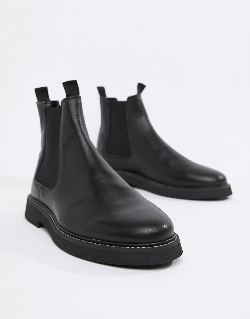 fe67d05b50780 Lyst - ASOS Chelsea Boots In Black Leather With Chunky Sole in Black for Men
