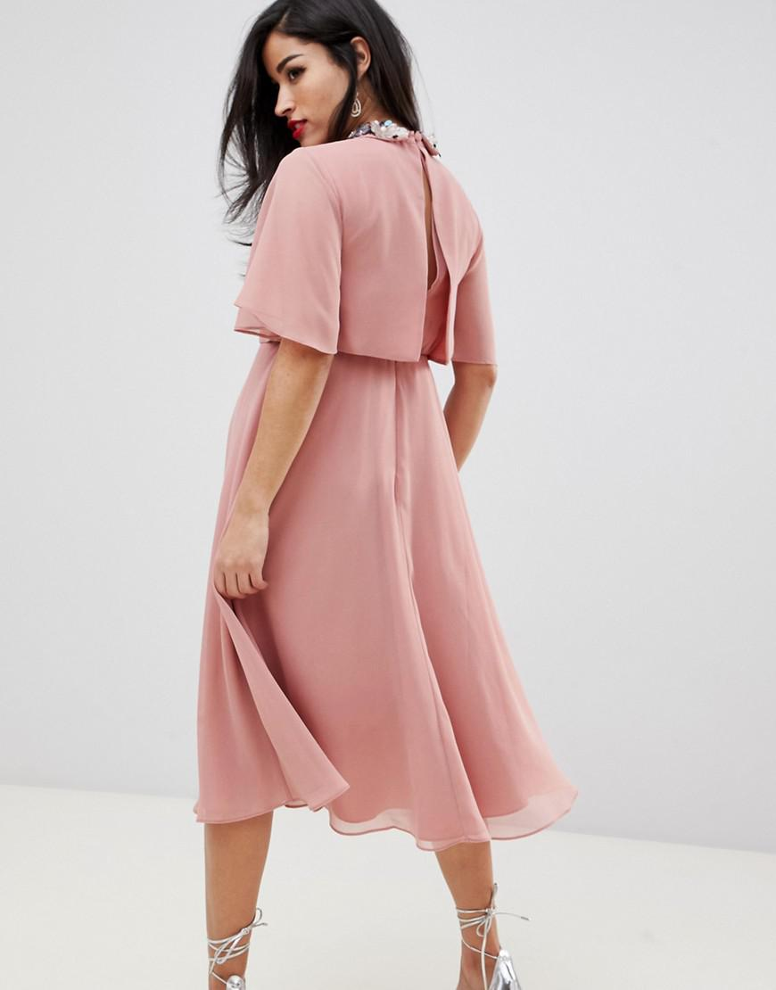 d425921e00 Lyst - ASOS Asos Design Maternity Midi Dress With Crop Top And 3d  Embellished Collar in Pink