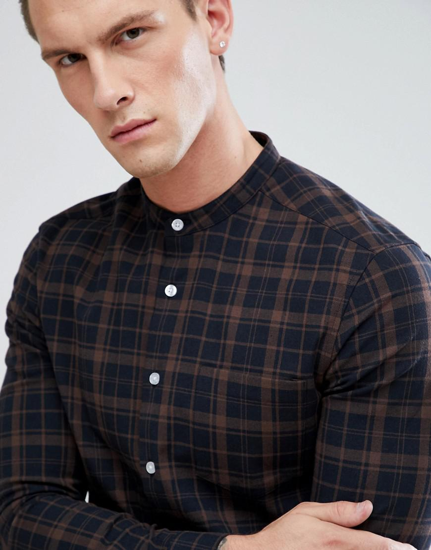 ASOS Denim Skinny Check Shirt With Grandad Collar in Black for Men