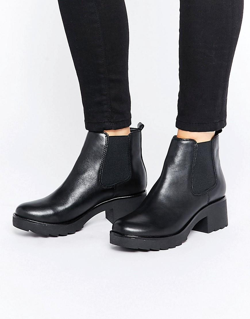 83909a5b71f Women's Black Manuan Chunky Leather Chelsea Boots