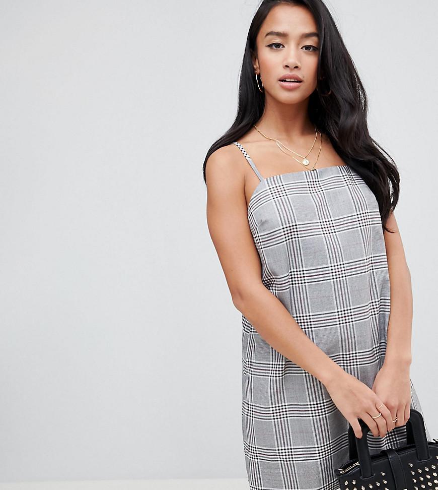 713fb94d4ac0a ASOS. Women's Asos Design Petite Mini Check Square Neck Cami Dress