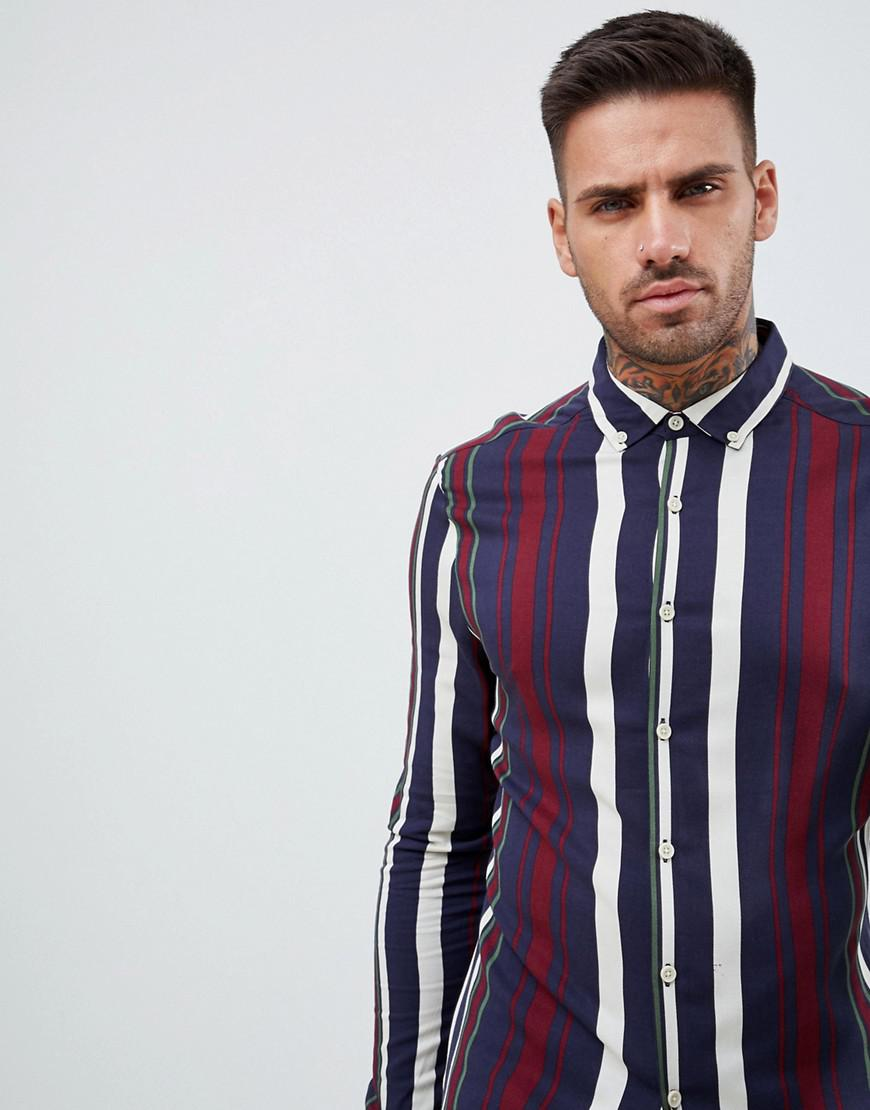 ae15ff92ffe ASOS Skinny Stripe Shirt In Navy   Burgundy in Blue for Men - Lyst